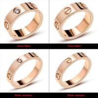 ingrosso accessori per la moda-Gli amanti del progettista di marca di nozze d'acciaio di titanio dell'anello per le donne Anelli di fidanzamento di zircone di lusso regali dei monili degli uomini Accessori di moda
