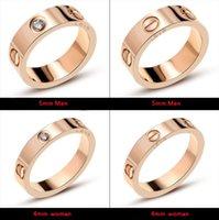 evlilik yüzükleri toptan satış-Titanyum Çelik Düğün Marka Tasarımcısı severler Yüzük kadınlar için Lüks Zirkonya Alyans erkekler takı Hediyeler Moda Aksesuarla ...