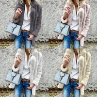 venta de ropa de dama al por mayor-Mujeres de la moda Abrigo de Piel Sintética Clásico Turn Down Collar Señora Overcoat Street Trend Popular Clothing Hot Sale 42dx Ww