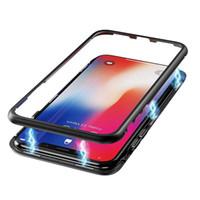 iphone arka çerçeve dolu toptan satış-Manyetik Adsorpsiyon Metal Telefon Kılıfı için iPhone Xr Xs Max X 8 Artı Temperli Cam Arka Kapak ile Tam Kapsama Alüminyum Alaşım Çerçeve