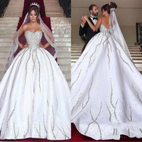 Wholesale wedding dresses bling caps for sale - Luxurious Bling Beads Crystal Said Mhamad Wedding Dresses Satin Sweetheart Arabic vestido de noiva Bridal Gown Ball For Bride Plus Size