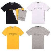 Wholesale purple clothes for sale - Group buy Balmain Men Designer t shirts Casual Clothes Material Stretch Clothes Natural Silk Classic Beachwear Short Sleeve For Mens Polo Shirt