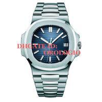 saatler toptan satış-2019 tasarımcı su geçirmez izle erkekler otomatik lüks saatler 5711 gümüş kayış mavi paslanmaz erkek mekanik montre de luxe kol