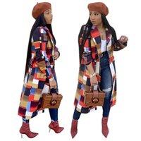 kadın pamuk satışı toptan satış-Geometrik Rüzgarlıklar Kısın Boyun Moda Splice Renkler Uzun Palto Kış Kadın Ev Giysileri Sıcak Satış 62wd E1
