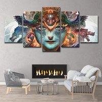 padrões de tela de pintura livre venda por atacado-HD Padrão Impresso Rosto Imagem 5 Peça Pintura Wall Art Room Decor Impressão Imagem do Cartaz Da Lona Frete Grátis