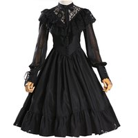 Wholesale movie costumes for ladies for sale - Adult Women Gothic Costume Lace Hollow Bridal Wedding Party Embroidery Dress Lolita Princess Sweet A Line Dress Veil For Ladies
