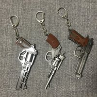 bronze schlüsselanhänger großhandel-Pistole Schlüsselanhänger - Männer Spiel Gun Model Collection Pistole Schlüsselanhänger Ring Revolver Souvenir Männer Junge Geschenk Frauen Tasche Charme