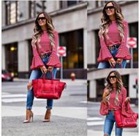 blusas brancas mistura de algodão venda por atacado-Mulheres Moda Vintage Branco E Vermelho Listrado Camisa Blusas de Algodão Blend Tops retro roupas Camisas de manga Flare feminina