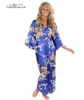 batas yukata al por mayor-Ropa de noche caliente de la venta Batas Mujer Seda Rayón azul del vestido de kimono Yukata chino atractivo de las mujeres de la ropa interior más del tamaño floral