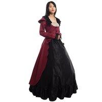 vestidos de fiesta xxl al por mayor-Vestido de Lolita victoriano femenino de la vendimia de Halloween de las mujeres fiesta de recreación gótica bullicio vestido de bola del traje de alta calidad
