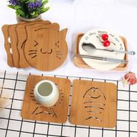 ingrosso tazze-9 stili di legno di calore resistente Pad Pan Pot materassino isolante Holder Kitchen Cooking Pad Bowl Cup Coasters RRA2108