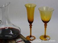 adornos de ámbar al por mayor-El color púrpura ámbar copa de vino color champán copa de jugo Copas de vino adornos de vidrio sin plomo