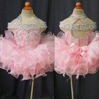 mädchen öffnen sich großhandel-Kleinkind pageant kleider rosa organza cupcake kinder prom kleider kristall perlen open back mit bogen formale kleine mädchen geburtstag party dress