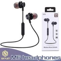 ahizesiz kulaklıklar toptan satış-M6 Bluetooth Kulaklık Manyetik Kablosuz Spor Kulaklık Kulaklık Perakende Kutusu ile Xiaomi Samsung için Mic ile Stereo Handfree Kulakiçi