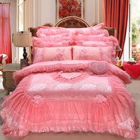 Wholesale jacquard print bedding set resale online - 2019 Red pink Jacquard wedding bedding sets queen king size duvet cover set lace luxury bedlinen bedspread