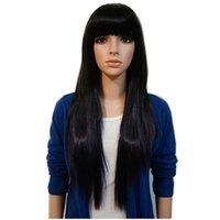 ingrosso trimmer di bocce-Parrucca nera delle donne di colore Parrucca diritta dei capelli W-Trim dei capelli lunghi diritti di modo