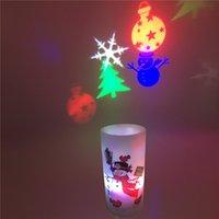 projetores de vela venda por atacado-Vela LED Projetor de Luz de Natal do Dia Das Bruxas Discoteca Imagem Lâmpada de Projeção Decorações para o Natal Casa de Aniversário de Ano Novo partido