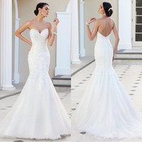 Wholesale church dresses resale online - 2019 Modern Lace Mermaid Country Wedding Dresses Strapless Appliques Tulle Backless Wedding Gowns Cheap Beach Church Bridal Dresses