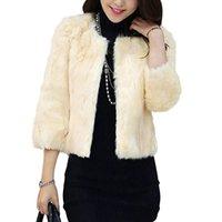 ingrosso cappotti lanuginosi neri-Inverno donne Faux Fur Coat anteriore aperto Fluffy spessa tuta sportiva calda del rivestimento delle donne cappotto corto di moda nero / beige Giacche Cappotti