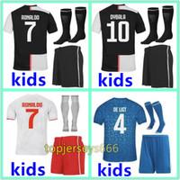 maillots de football achat en gros de-2019 2020 maillot Juventus Soccer Jersey kids DYBALA RONALDO Soccer Shirt enfants 19 20 juventus kids Personnalisé DE LIGT MANDZUKIC Maillots de foot