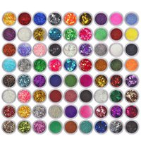 nuevo brillo de uñas al por mayor-Almacén de EE. UU. Nuevo 72 Colores Spangle Nail Glitter Paillette Lentejuelas de Acrílico UV Glitter Powder Polish consejos Set Belleza Nail Art