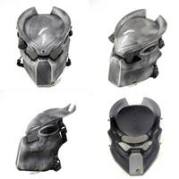 masque de prédateur achat en gros de-Alien Vs Predator Loup solitaire masque avec lampe en plein air Wargame masque tactique visage intégral CS masque Halloween Party