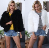 peles de avestruz venda por atacado-Inverno Senhora Elegante De Luxo Shaggy Casaco De Pelúcia Peru Feather Faux Avestruz Casaco De Peles Mulheres Fourrure Casaco Feminino Plus Size