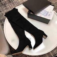 botas de muslo talla 35 al por mayor-Nuevas botas de lujo para el muslo de las mujeres, botas de piel de cabra de ante laminadas de diseñador, botas de piel de becerro de gamuza de invierno, tamaño: 35-40