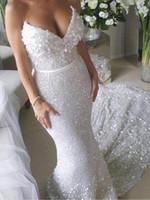 vestido de casamento lantejoulas brancas venda por atacado-Faísca Branco Lantejoula Applique Strapless Sexy Sereia Vestidos de Casamento Trem de Luxo Paillette rendas Vestidos De Noiva Vestidos De Casamento Novia