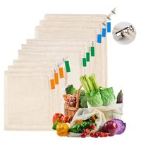 Wholesale recycling cans for sale - Group buy Pure Cotton Mesh Bag Drawstring Bunch Of Vegetables Fruit Bags Can Be Recycled Shopping Bags By DHL