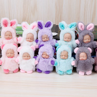 Wholesale high hair women resale online - High Quality Doll cm Rabbit Hair Sleeping Baby KeyChain Plush Toy Pendant Women Fluffy Fur Keyring Bag Hang Plush Toy