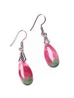 ohrring haken rot großhandel-Natürliche rote grüne Jade Edelstein Perlen Ohrringe Silber Haken Geschenk Frauen Schmuck