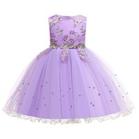 Wholesale baby blue prom dress kids resale online - Kids Girl Princess Dresses Ruffle Gauze Embroidered Bow Perform Dress Kids Prom Clothes Girls Baby Girl Dresses T