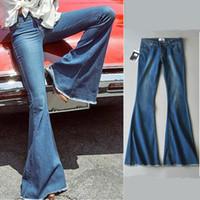 jeans denim mujer azul oscuro al por mayor-2017 vintage cintura baja elástico flare jeans mujeres estilo retro campana inferior skinny jeans mujer azul marino de pierna ancha pantalones de mezclilla
