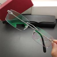 c41ddf9a57 2019 Brand Titanium Glasses Luxury Men Women Designer Fashion Rimless  Eyeglasses High Quality Rectangle Business Eyewear with Retail Package