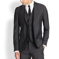 pieza de esmoquin gris carbón al por mayor-De alta calidad, dos botones, gris carbón, esmoquin, esmoquin, muesca, solapa, hombres, trajes, 3 piezas, boda / baile de graduación / cena (chaqueta + pantalón + chaleco + corbata)