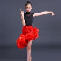 saias de dança salsa vermelha venda por atacado-Vestido de dança latina para meninas crianças salsa para o desgaste da competição trajes de saias vermelhas dança de salão vestidos de dança do palco do miúdo