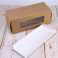 ingrosso finestre di scatola di carta-Kraft Paper Window Cookie Box Marbling Portable West Point Box Rettangolo Cake Baking Packing Case White Cardboard Bottom Bottom 0 95ltb1