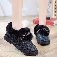 puntera de algodón cubre a las mujeres al por mayor-Dedo del pie de la cubierta de algodón zapatos de tacón Mujer Slip-On Ronda de Invierno Zapatillas con lentejuelas plana talón Inicio invierno de los deslizadores de las mujeres Chaussures femme
