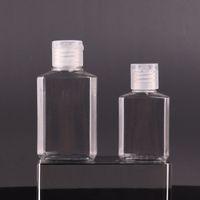 30ml 60ml Empty PET plastic bottle with flip cap transparent square shape bottle for makeup fluid disposable hand sanitizer gel