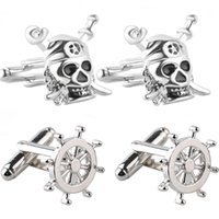 Wholesale ship rudder jewelry resale online - Trendy rudder pirate ship skull twins cufflinks buttons gifts Fashion silver pirate sword cufflinks for men shirt jewelry gifts