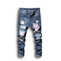 Wholesale mens paints resale online - Mens Jeans Summer Fashion Style Street Wear Painted Printing Hole Patch Hot Sale Asian Size