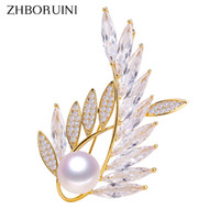 Wholesale austria crystal brooch resale online - ZHBORUINI Natural Freshwater Pearl Brooch Austria Crystals Gold Creative Brooch Pins Pearl Jewelry For Women Accessories