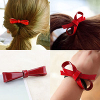 Wholesale plastic hair clips for kids resale online - Korean Cherry Red Bowknot Flower Elastic Rubber Hair Band Rope Plastic Hair Clips Hairpin For Women Girls Kids Accessories