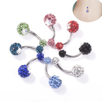 Wholesale diamond ball rings for sale - Group buy Wasit Belly Dance Round Ball Color Crystal Body Jewelry Stainless Steel Rhinestone Navel Bell Button Piercing Dangle Rings for Women Gift