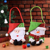 bez torbalar toptan satış-Noel Şeker Bez Çantalar Kumaş Kardan Adam Santa Çuval Çocuklar Noel Apple Çanta Sacchetti Natale Noel Hediye Şeker Çanta Dokumasız