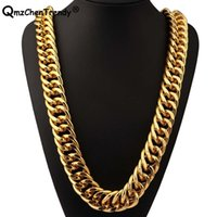 Wholesale mens tungsten chains resale online - T Show mm Width g Super Heavy Women Mens Thick Miami Cuban Chain Necklaces Golden Silver Bling Hip Hop Exaggerated Jewelry C19041601