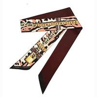 correa de cadena al por mayor-Nueva bufanda para mujer Leopard Chain Printing Skinny Bag Scarf Brand Silk Foulard Women Tie Fashion Belt Head Pañuelos para damas