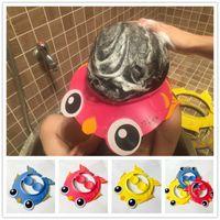 ingrosso cappelli da bagno per bambini-Baby Kids Bambini Safe Shampoo Bath Bathing Shower Cap Hat Wash Scudo capelli Conveniente New Fashion Baby Use