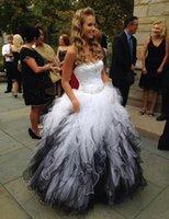 Wholesale unique short wedding dresses resale online - Vintage Bridal Gowns vestido de noiva Backless Plus Size Unique Sweetheart Corset White and Black Wedding Dress Ball Gown